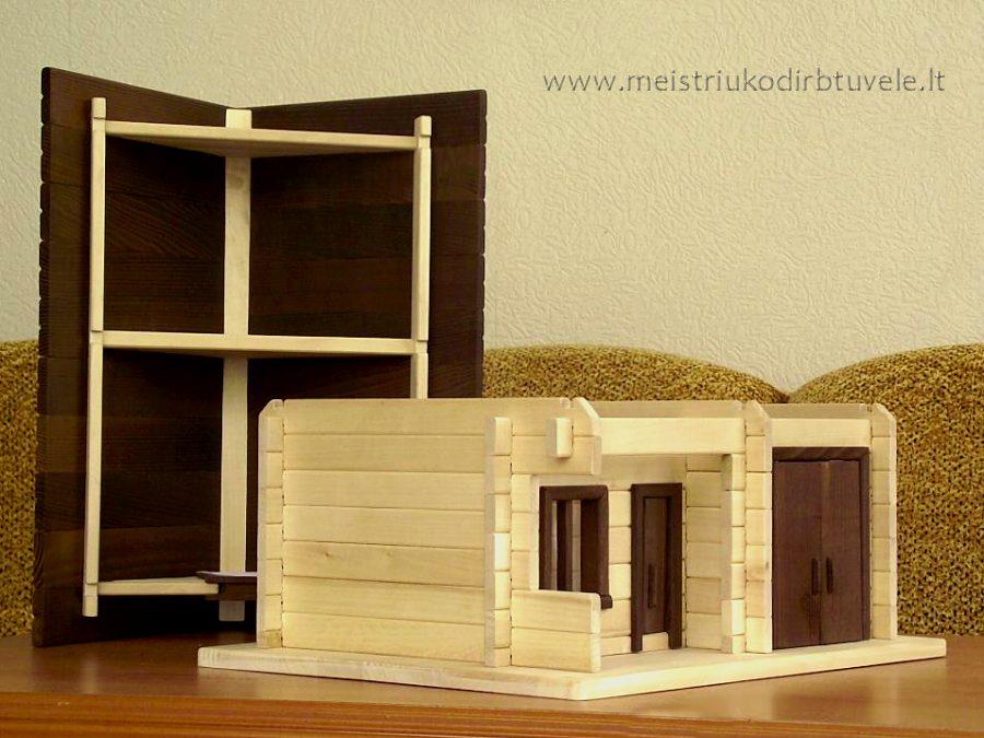 Žaislinis namelis nukeliamu stogu | meistriuko dirbtuvele
